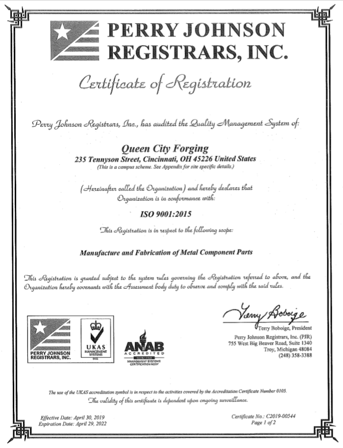 Perry Johnson Certificate of Registration for ISO 9001:2015