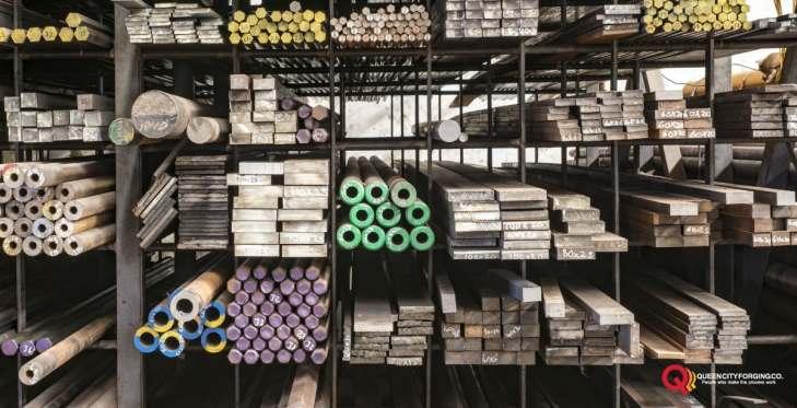 stacked steel metal warehouse
